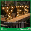 カスタム結婚式は印の金属、型の電球の文字の印、カスタム玄関ひさしの文字の印に文字を入れるために愛玄関ひさしに文字を入れる