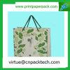 손잡이를 가진 꽃 디자인 Simpleness 민감한 녹색 Kraft 종이 봉지