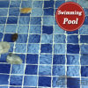 tegel van het Mozaïek van het Porselein van het Patroon van de Golf van 48X48mm de Blauwe Ceramische voor Zwembad