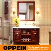 Armários de banheiro clássicos vermelhos da madeira contínua do amieiro de Oppein (OP15-096A)