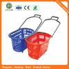 4 panier à provisions en plastique de roulement de traitement de supermarché des roues 45L