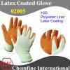 10g желтый полиэстер / хлопок трикотажные перчатки с оранжевой латекса морщин покрытия