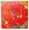 Pintura al óleo roja de la flor de la lona hecha a mano