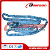 Color blu 8 Ton Polyester Round Sling per Lifting
