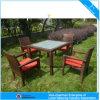 安い庭の家具の屋外の柳細工の藤のダイニングテーブルおよび椅子