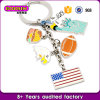 De in het groot Charmes Keychain van de Vlag van de V.S. van het Land van de Douane van het Email van het Metaal Zilveren