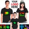 Kundenspezifischer Kind-Frauen-Männer LED EL-Ton betätigte blinkende T-Shirts