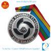 Горячим подгонянный сбыванием сплав цинка штемпелюя серебряное медаль бейсбола плакировкой 3D с тесемкой