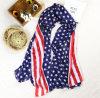 Madame Chiffon imprimée Polyester Scarf d'écharpe d'écharpe de mode d'étoile en gros des Etats-Unis et de drapeau américain de raie