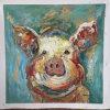 抽象的な動物の油絵---ブタ