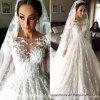 Das luvas longas muçulmanas nupciais dos vestidos de esfera do laço vestidos de casamento árabes Y20316