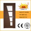 Madeira MDF Moldada Interior de vidro em madeira de madeira porta de PVC (SC-P151)