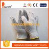 Le coton d'agent de blanchiment de 7 mesures/le PVC de noir de Knit corde de polyester pointille les gants fonctionnants résistants (DKP112)