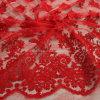 Escuro - projetos lustrosos vermelhos do bordado do engranzamento com tela composta do fio da corda e de poliéster à saia de Ladys