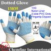 13G белый нейлон трикотажные перчатки с 2-х сторон Синий нитрил точек на Палм & Синий Nitrile гладкое покрытие на пальца / EN388: 214X