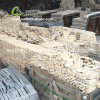 De beige Bakstenen van de Muur van de Steen van het Kalksteen Natuurlijke