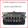 coche DVD GPS del androide 4.0 de 3G WiFi para Toyota Corolla 2006-2011 con el GPS, Bluetooth, control del volante, cámara de visión trasera