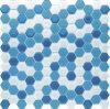 プールのための青い混合されたカラー六角形のガラスモザイク