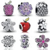 925 Sterling Silver Flowers Charms Fit Pandora Pulseira Colar Original Bead Jewelry DIY Moda Mulher