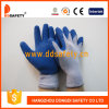 Guanto blu lavorato a maglia di sicurezza del lattice della piega dei guanti del cotone (DKL329)