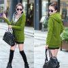 Senhora longa Outerwear Camisola do revestimento do inverno da luva das mulheres novas de Coreia