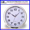 Reloj de pared plástico redondo del marco de la impresión de plata de la insignia (Item22)