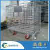 Contenitore impilato metallo piegante della rete metallica con le rotelle