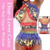 Lingerie en couleurs Élevée-Waisted en deux pièces de bikini de Halter