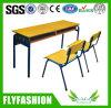 Mesa de madeira do dobro do estudo da sala de aula da mobília de escola com cadeira (SF-08D)