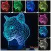 luz animal da lâmpada do quarto da mesa da tabela do interruptor do toque da mudança da noite 7color do diodo emissor de luz do leopardo 3D