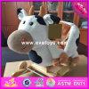 2017 оптовых деревянных игрушек для девушок, игрушки тряся лошади тряся лошади новой коровы конструкции деревянные для девушок W16D106