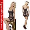 Alineada negra Bodystocking atractivo del Fishnet de la perspectiva de las mujeres