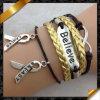 De Armband van het leer, de Nieuwe Armband van de Charmes van het Kristal van de Legering van het Zink, komt 2013 aan (FB049)