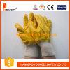 Перчатки хлопка работая покрывая желтый нитрил (DCN403)