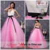 a - robe de ligne/soirée de princesse V-Cou Straps Chapel Train avec l'arc (k-177)