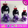 Farbige hölzerne Großhandelspuppe des Kimono-2015, Verkaufsschlager-japanisches Kimonos Kokeshi Puppe-Set, reale Puppe-japanische Geisha-Puppen W06D070c