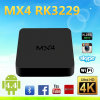 2016 cadre intelligent 4k du faisceau TV de quarte du cadre 1g+8g du nouveau produit Mx4 4k Rk3229 TV