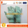 Зеленым перчатки связанные полиэфиром с белым PVC ставят точки одна сторона (DKP139)
