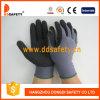 Перчатка безопасности отделки Sandy покрытия нитрила черноты раковины 13 датчиков серая Nylon (DNN454)