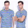 La camiseta del algodón de los hombres redondos mercerizados el 100% del cuello/la te de los hombres/rayó la camisa de los hombres