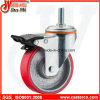 5 Inch Medium Duty Swivel Steel PU Caster mit Double Brake