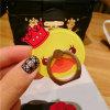 Pequeño sostenedor amarillo del anillo del soporte del teléfono móvil del pato de la corona