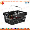 Panier à provisions en plastique neuf personnalisé de traitement de double de supermarché (Zhb35)