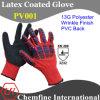 13G Красный полиэстер трикотажные перчатки с черным латекса морщин покрытия и ПВХ Назад / EN388: 3232