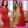 2015 plus défunt Sexy Red Crystal et Diamond Evening Dress High End Celebrity Evening Gown (E002)