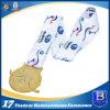 Глянцеватая гимнастика плакировкой золота резвится медаль металла промотирования с тесемкой