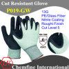 13G зеленый ПЭ / стекловолокна трикотажные перчатки с нитрил Грубый покрытием Палм / EN388: 4543