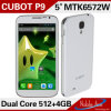 元のCubot P9 Mtk6572 Dual Core Cell Phones Android 4.2 8MP Camera Dual SIM 5.0  Capacitive Screen GPS/3G Cell Phone