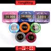 730PCS/chipset de cristal do póquer do estilo da tela com em chipset de alumínio do casino do caso para 5 - 10 jogos de jogo Ym-Sjsy001