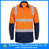 Chemises oranges de travail de Mens de marine de visibilité élevée de tonalité de la vente en gros deux